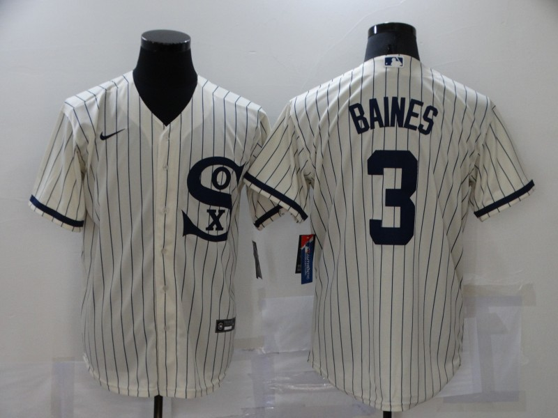 Men's Chicago White Sox #3 Harold Baines 2021 Cream Field of Dreams Name Cool Base Stitched Nike Jersey
