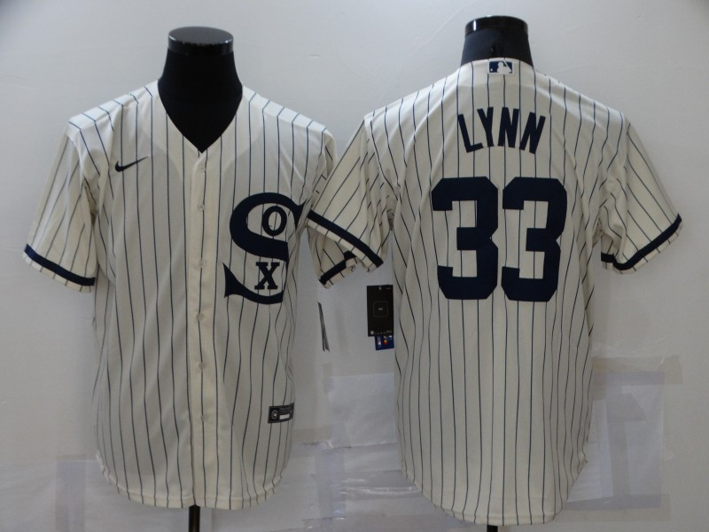 Men's Chicago White Sox #33 Lance Lynn 2021 Cream Field of Dreams Name Cool Base Stitched Nike Jersey