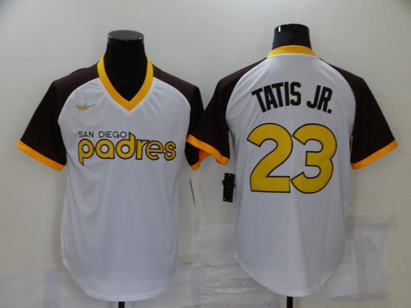 Men's San Diego Padres #23 Fernando Tatis Jr White Stitched MLB Cooperstown Cool Base Nike Jersey