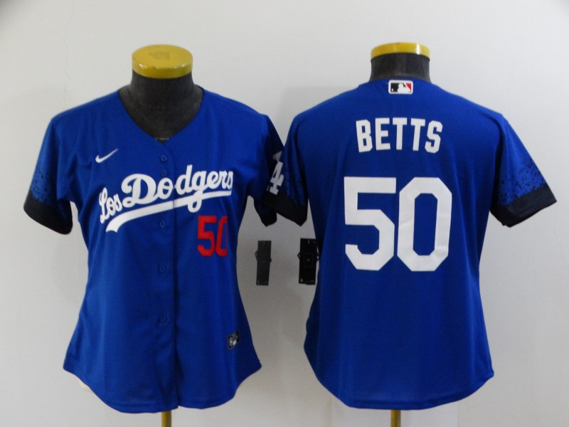 Women's Los Angeles Dodgers #50 Mookie Betts Blue 2021 City Connect Number Cool Base Stitched Jersey