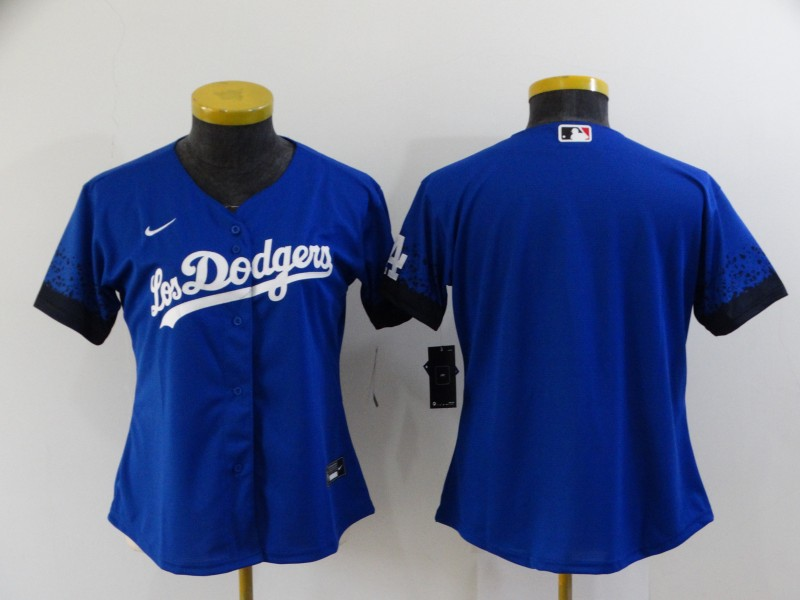 Women's Los Angeles Dodgers Blank Blue 2021 City Connect Cool Base Stitched Jersey