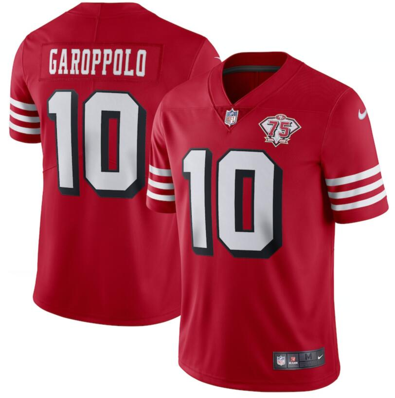Nike 49ers 10 Jimmy Garoppolo Red 75th Anniversary Color Rush Vapor Untouchable Limited Jersey