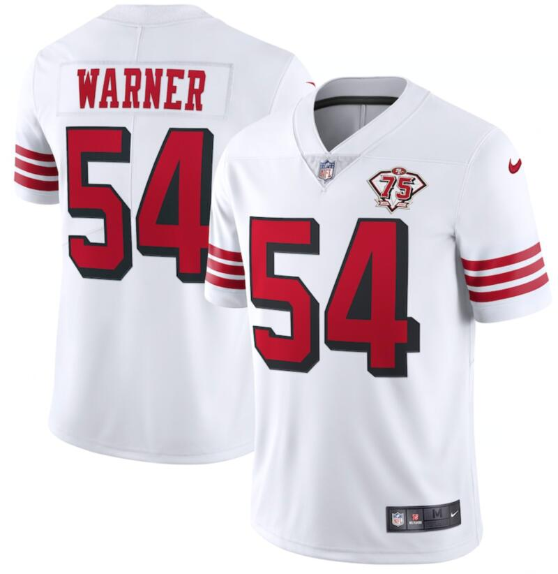 Nike 49ers 54 Fred Warner White 75th Anniversary Color Rush Vapor Untouchable Limited Jersey