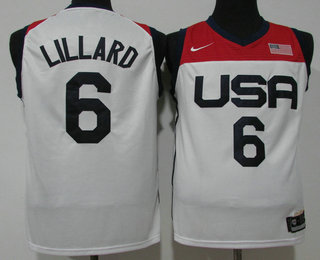 Men's USA Basketball #6 Damian Lillard 2021 White Tokyo Olympics Stitched Home Jersey
