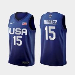 Men's USA Team Devin Booker Away Blue 2021 Tokyo Olympics Jersey