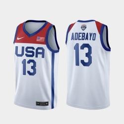 Men's USA Team Bam Adebayo Home White 2021 Tokyo Olympics Jersey