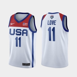 Men's USA Team Kevin Love Home White 2021 Tokyo Olympics Jersey