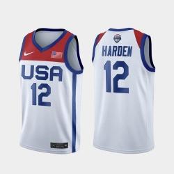 Men's USA Team James Harden Home White 2021 Tokyo Olympics Jersey
