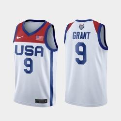Men's USA Team Jerami Grant Home White 2021 Tokyo Olympics Jersey