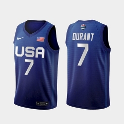 Men's USA Team Kevin Durant Away Blue 2021 Tokyo Olympics Jersey