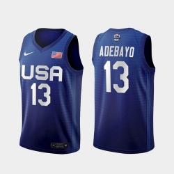 Men's USA Team Bam Adebayo Away Blue 2021 Tokyo Olympics Jersey