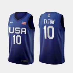 Men's USA Team Jayson Tatum Away Blue 2021 Tokyo Olympics Jersey