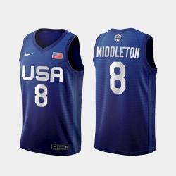 Men's USA Team Khris Middleton Away Blue 2021 Tokyo Olympics Jersey