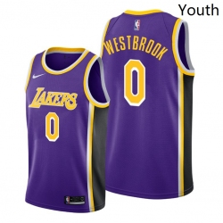 Youth Lakers Russell Westbrook 2021 trade purple statement edition jersey