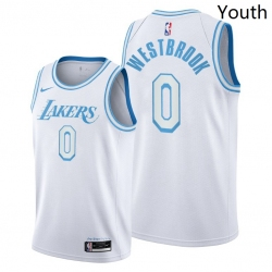 Youth Lakers Russell Westbrook 2021 trade white city edition jersey