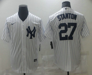 Men's New York Yankees #27 Giancarlo Stanton White Stitched MLB Cool Base Nike Jersey