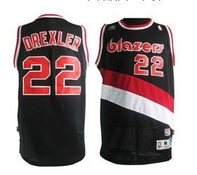 Biggest Portland Trail Blazers #22 Clyde Drexler Black Swingman Throwback Jersey