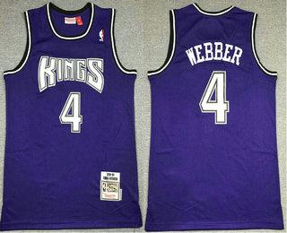 Biggest Men's Sacramento Kings #4 Chris Webber Purple 1998-99 Hardwood Classics Soul Swingman Stitched NBA Throwback Jersey