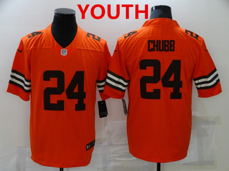 Youth Cleveland Browns #24 Nick Chubb orange 2021 inverted legend stitched nike limited Jersey