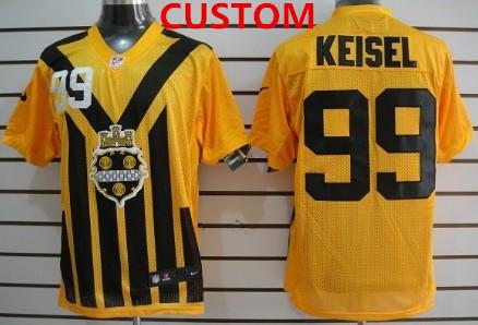 Custom Nike Pittsburgh Steelers 1933 yellow throwback jersey