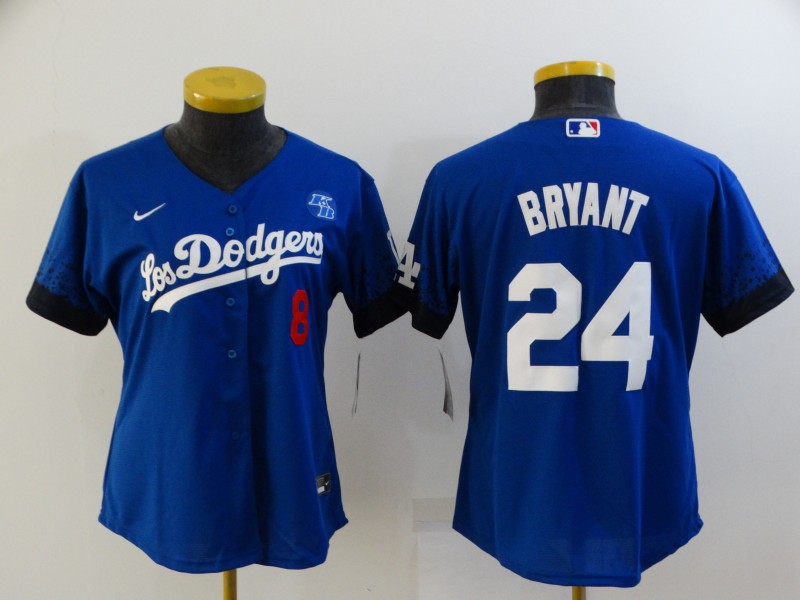 Women's Los Angeles Dodgers #8 #24 Kobe Bryant Blue 2021 City Connect Number Cool Base Stitched Jersey