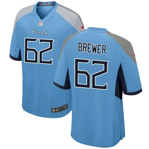 Men's Tennessee Titans #62 Aaron Brewer Blue Game Nike Jersey