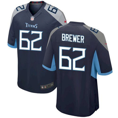 Men's Tennessee Titans #62 Aaron Brewer Navy Game Nike Jersey