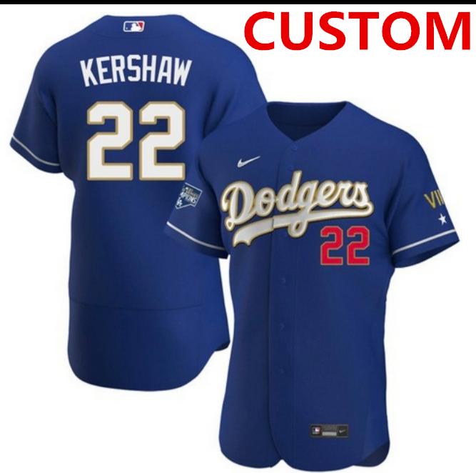 Men Los Angeles Dodgers Custom Championship Gold trim blue limited all stitched flex base Jersey