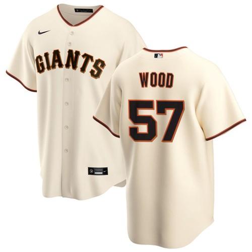 Men's San Francisco Giants #57 Alex Wood Cream Home Nike Jersey