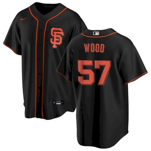 Men's San Francisco Giants #57 Alex Wood Black Alternate Nike Jersey