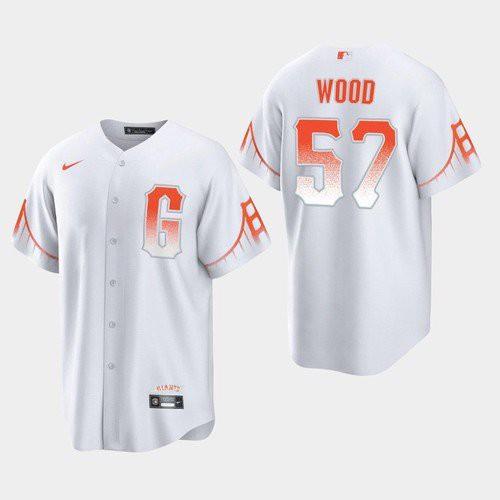Men's San Francisco Giants #57 Alex Wood White 2021 City Connect Nike Jersey
