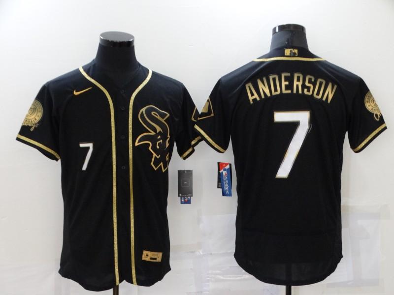 Men's Chicago White Sox #7 Tim Anderson Black 2021 Golden Edition Stitched Flex Base Nike Jersey