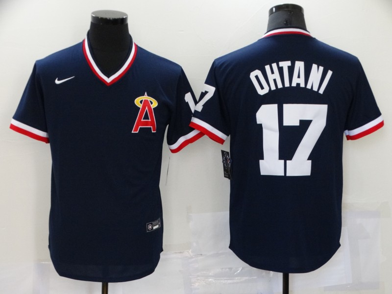 Men's Los Angeles Angels #17 Shohei Ohtani Navy Blue Throwback Cooperstown Collection Stitched MLB Nike Jersey