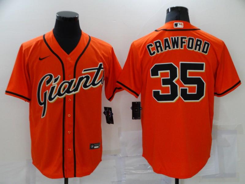 Men's San Francisco Giants #35 Brandon Crawford Orange Stitched MLB Cool Base Nike Jersey