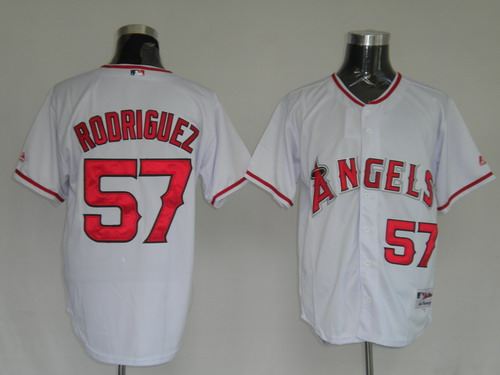 MLB Jerseys Los Angeles Angels #57 Francisco Rodriguez White softball jerseys