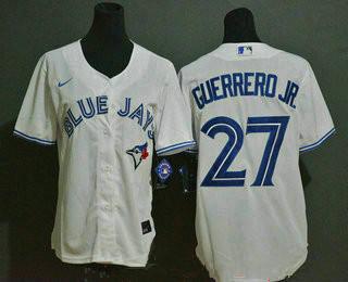 Wmen's Toronto Blue Jays #27 Vladimir Guerrero Jr. white stitched MLB cool base Nike jersey