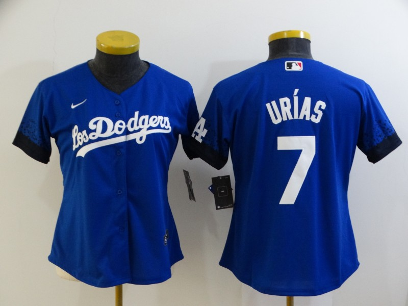 Women's Los Angeles Dodgers #7 Julio Urias Blue 2021 City Connect Cool Base Stitched Jersey