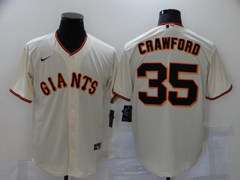 Men's San Francisco Giants #35 Brandon Crawford Cream Stitched MLB Cool Base Nike Jersey
