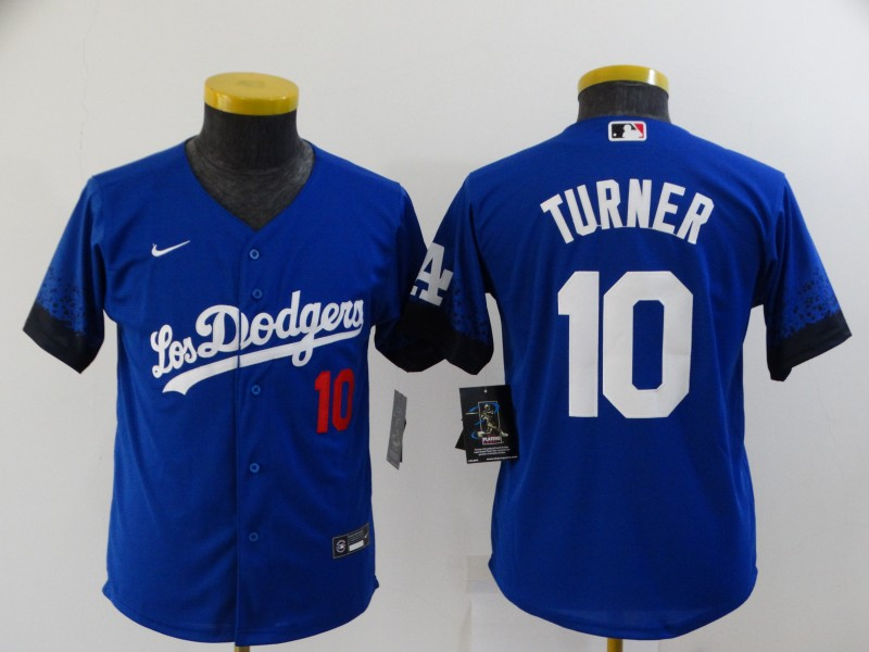 Youth Los Angeles Dodgers #10 Justin Turner Blue 2021 City Connect Number Cool Base Stitched Jersey