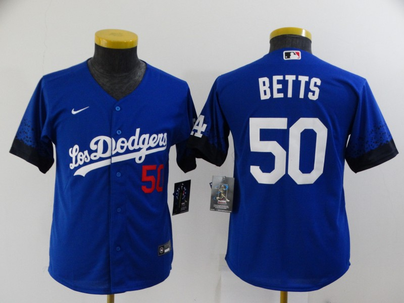 Youth Los Angeles Dodgers #50 Mookie Betts Blue 2021 City Connect Number Cool Base Stitched Jersey