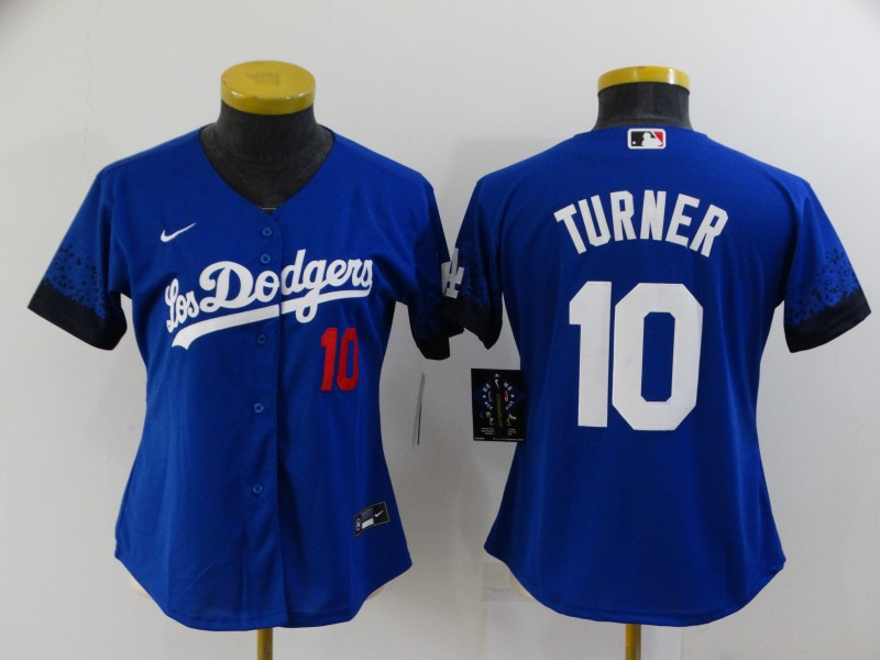 Women's Los Angeles Dodgers #10 Justin Turner Blue 2021 City Connect Number Cool Base Stitched Jersey