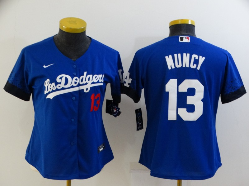 Women's Los Angeles Dodgers #13 Max Muncy Blue 2021 City Connect Number Cool Base Stitched Jersey