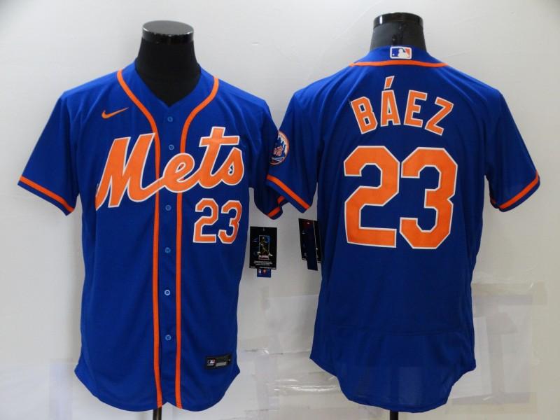 Men's New York Mets #23 Javier Baez Blue Stitched MLB Flex Base Nike Jersey