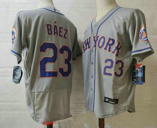 Men's New york mets #23 javier baez grey stitched mlb flex base nike jersey