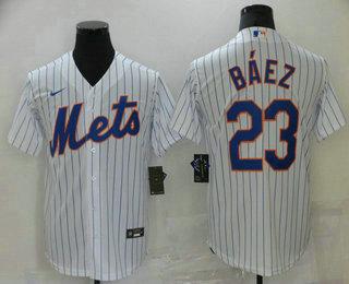 Men's New York Mets #23 Javier Baez White Stitched MLB Cool Base Nike Jersey