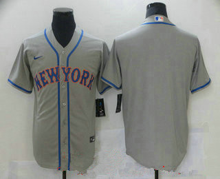Men's New york mets blank grey road stitched mlb cool base nike jersey