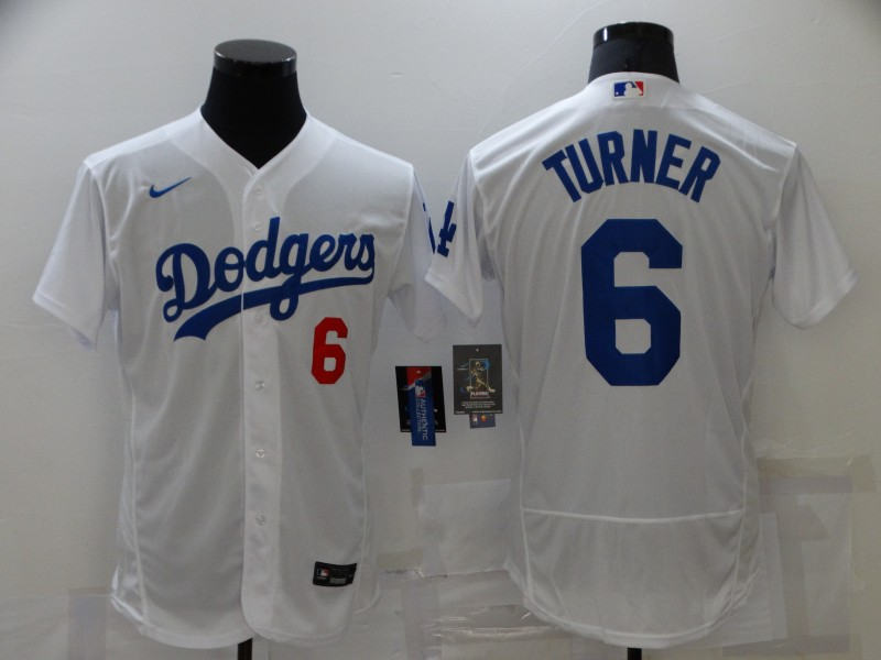 Men's Los Angeles Dodgers #6 Trea Turner White Stitched MLB Flex Base Nike Jersey