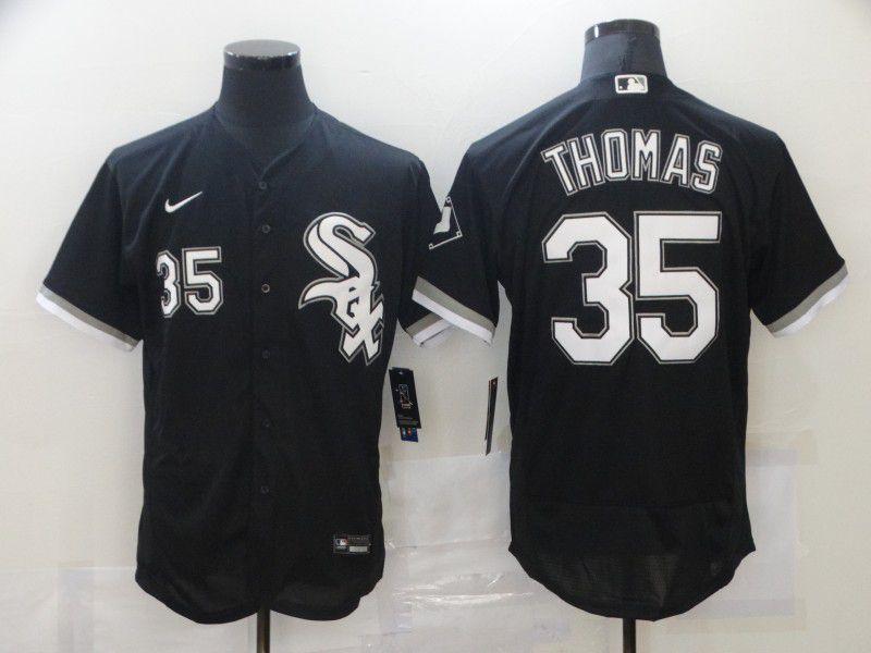 Men's Chicago White Sox #35 Frank Thomas Black Stitched MLB Flex Base Nike Jersey