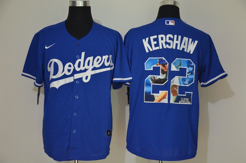 Men's Los Angeles Dodgers #22 Clayton Kershaw Blue Unforgettable Moment Stitched Fashion MLB Cool Base Nike Jerseys