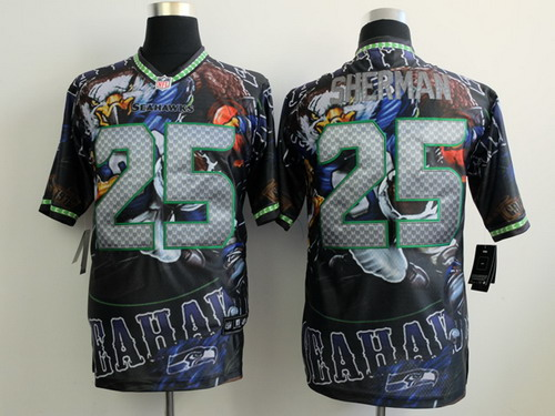 Nike Seattle Seahawks #25 Richard Sherman 2014 Fanatic Fashion Elite Jersey
